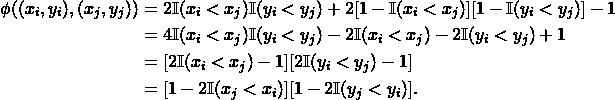 \begin{align*} \phi((x_i, y_i), (x_j, y_j)) &= 2 \mathbb{I}(x_i < x_j) \mathbb{I}(y_i < y_j) + 2[1-\mathbb{I}(x_i < x_j)][1- \mathbb{I}(y_i < y_j)] - 1 \\ &= 4 \mathbb{I}(x_i < x_j) \mathbb{I}(y_i < y_j) - 2 \mathbb{I}(x_i < x_j) - 2\mathbb{I}(y_i < y_j) + 1 \\ &= [2\mathbb{I}(x_i < x_j) - 1][2\mathbb{I}(y_i < y_j)-1] \\ &= [1-2\mathbb{I}(x_j < x_i)][1-2\mathbb{I}(y_j < y_i)]. \end{align*}
